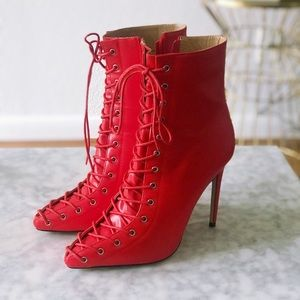 Red Lace Up Booties